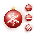red christmas ball set with snow effect stocking vector image