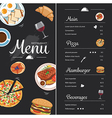 restaurant food menu design with chalkboard vector image vector image