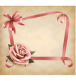Retro holiday background with pink rose and vector image vector image