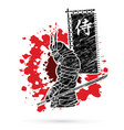 samurai standing with sword and flag vector image