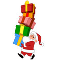 santa with gifts stack vector image