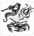 Set - Aggressive Marine life vector image