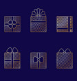 set of minimalistic linear gift boxes vector image vector image