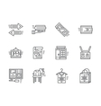 Simple line online commission store icons vector image vector image
