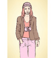 Sketch cute hipster girl in vintage style vector image vector image