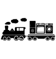train with home appliances icon vector image