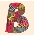Vintage monogram B Doodle colorful alphabet vector image