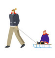 winter outdoor activity child sledding and father vector image