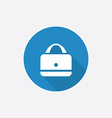 purse Flat Blue Simple Icon with long shadow vector image