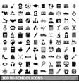 100 hi-school icons set simple style vector image vector image
