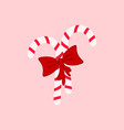 a candy cane and bow icons christmas vector image vector image
