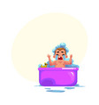 baby kid infant child crying in bath unwilling vector image vector image