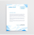 blue abstract business letterhead design vector image vector image