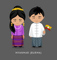burmese in national dress with a flag vector image vector image
