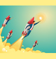 businessmen team standing on rocket ship flying vector image