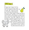 cartoon elephant maze game vector image