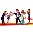 celebrities with paparazzi on red carpet vector image vector image