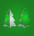 Christmas cutout paper tree minimal background vector image