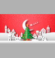 christmas eve paper cut winter city and pine tree vector image