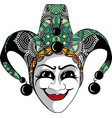 decorated venetian carnival jester mask with vector image
