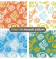 Fishes seamless pattern set - vector image