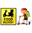 food delivery logo with delivery man or courier vector image