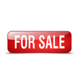 for sale red square 3d realistic isolated web vector image vector image
