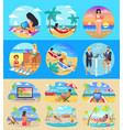 freelance workers with laptops on exotic beaches vector image vector image