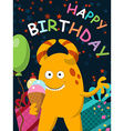 Funny yellow monster with ice cream celebrates its vector image vector image