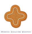 gingerbread cookie isolated on white vector image vector image