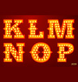 glowing lamp letters for circus movie etc vector image vector image