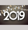 gold festive 2019 new year card with flags vector image