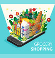 grocery shopping online concept smartphone screen vector image