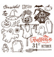 halloween night doodles vector image vector image