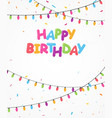 happy birthday banner with colorful light bulb vector image