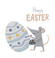 happy easter greeting card with cute mouse vector image vector image