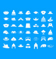 hat icon blue set vector image vector image