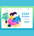 isometric 3d stay at home a young girl vector image