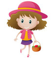 little girl holding basket of fruits vector image vector image