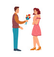 man giving floral bouquet to women dating couple vector image