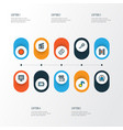 media icons colored line set with cinema low vector image