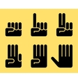 numbers 0 to 5 with hands vector image vector image