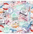 passport stamp seamless pattern international vector image vector image