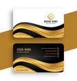 premium golden business card design with wavy vector image vector image