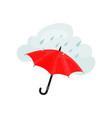 rain drops and bright red umbrella typical london vector image