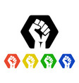 raised fist logo icons set - isolated illus vector image vector image