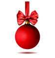 red christmas ball hanging on ribbon with bow vector image