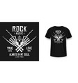 rock music t-shirt graphic design with skeleton vector image vector image