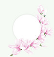 round paper with pink magnolia flowers vector image vector image