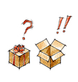 Set of doodle sketches of gifts vector image vector image